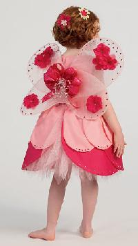 little miss rosebud back view child roleplaying costume