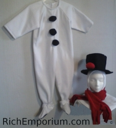 Snowman costume toddler sizes jumpsuit with hat and scarf